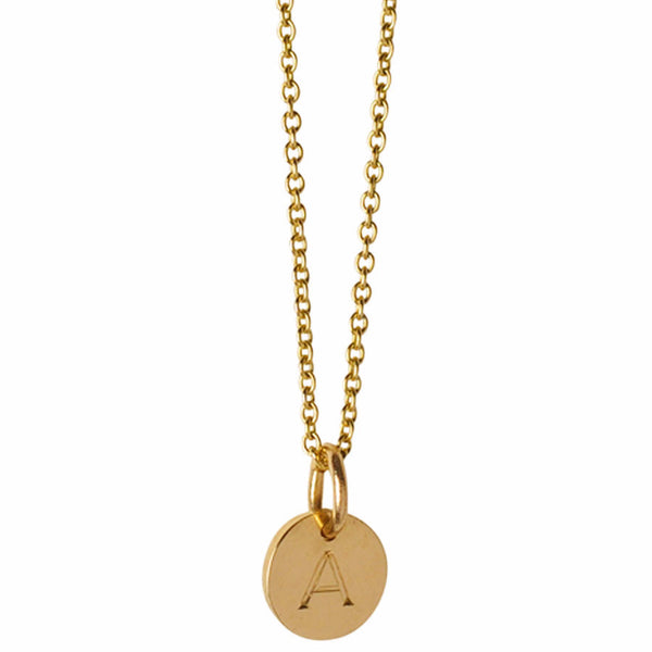 Small Block Initial Disc Charm Necklace