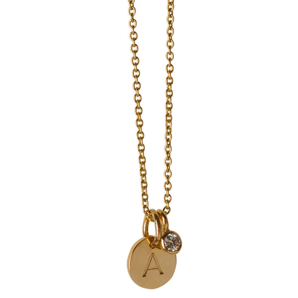 Small Block Initial Disc & Diamond Charm Necklace