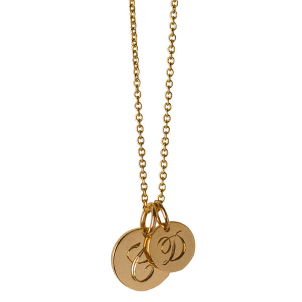 Small & Medium Initial Disc Charm Necklace