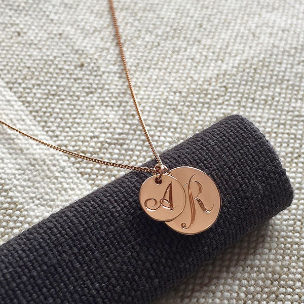 Double Coin Initial Cluster Necklace