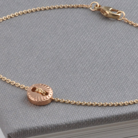 18ct Rose Gold Scalloped Button Chain Bracelet