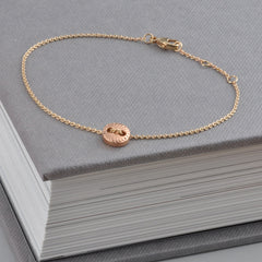 9ct Rose Gold Scalloped Button Chain Bracelet