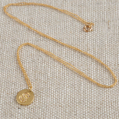 18ct Gold Mini Coin Diamond Initial Necklace