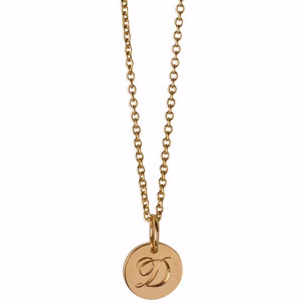 Small Script Initial Disc Charm Necklace