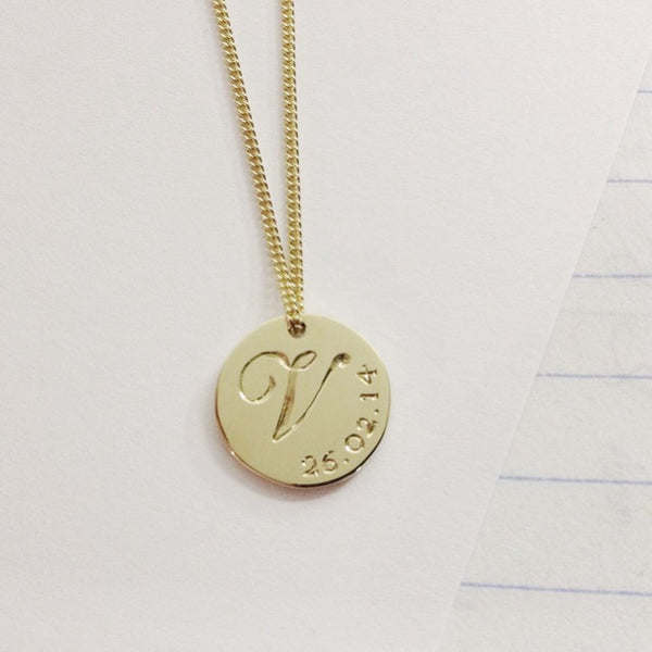 9ct Double Sided Initial & Date Necklace