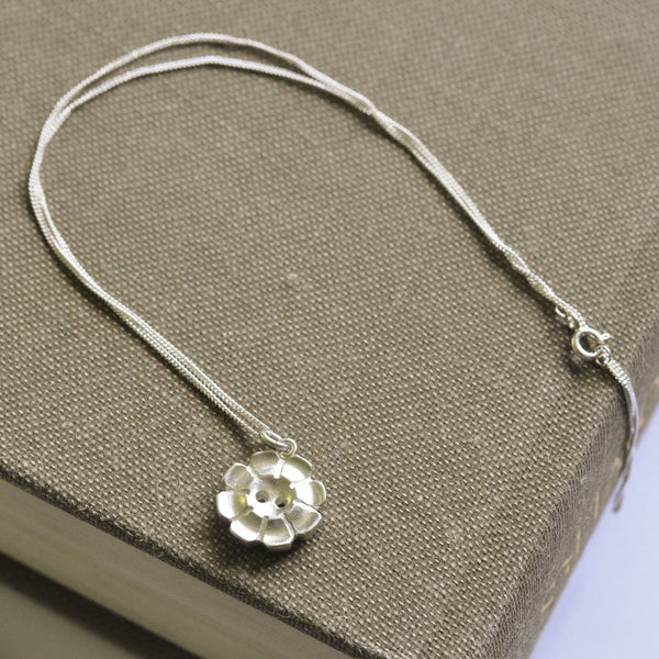 Silver Flower Button Necklace