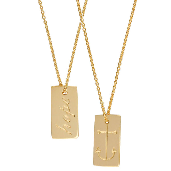 gold hope and anchor tag necklace