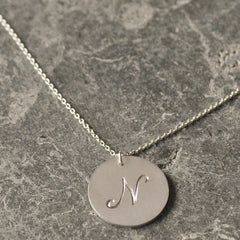 Large Silver Single Initial Necklace