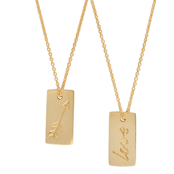 love and arrow gold tag necklace