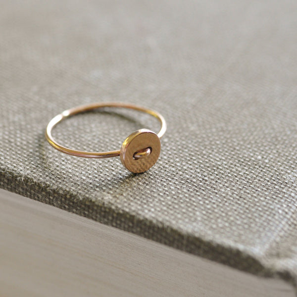 SOLD 9 ct Gold Sequin Button Ring