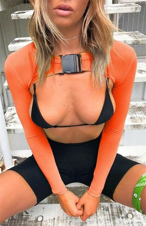 SunBurst Orange Fishnet Hollow Top