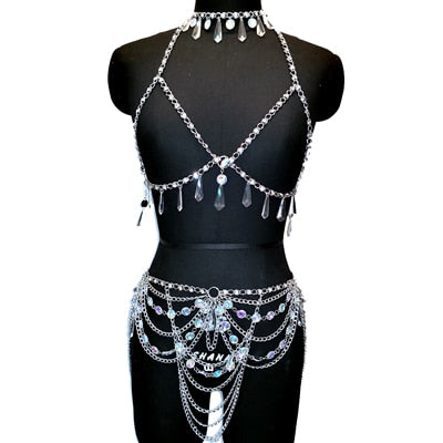 Exotic Crystal Beaded Top & Skirt