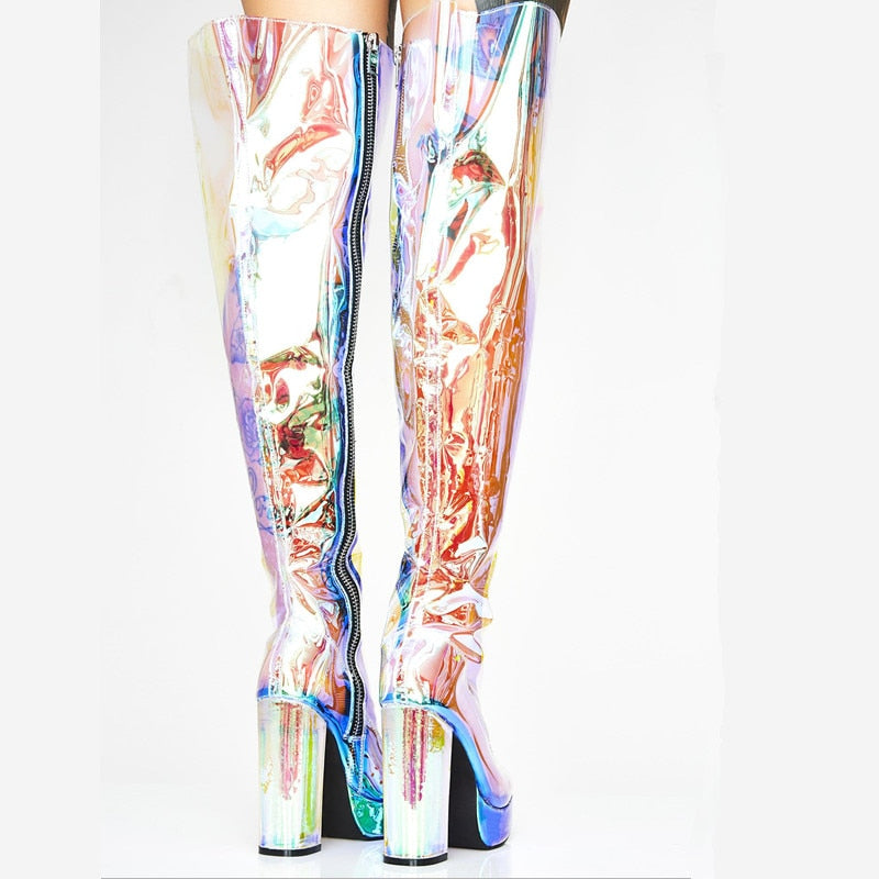 GLOW See Transparent Holographic Heel Boots