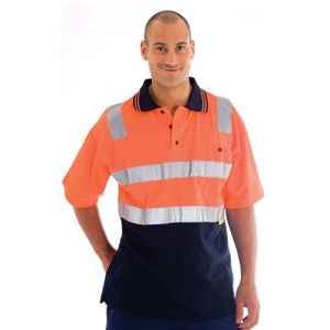 DNC Workwear-DNC HiVis Cotton Back Two Tone S/S Polo Shirt with 3M R/T--Uniform Wholesalers - 1