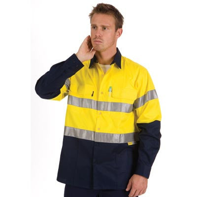 DNC Workwear-DNC HiVis Cool-Breeze L/S Cotton Shirt with 3M Value R/T--Uniform Wholesalers - 1