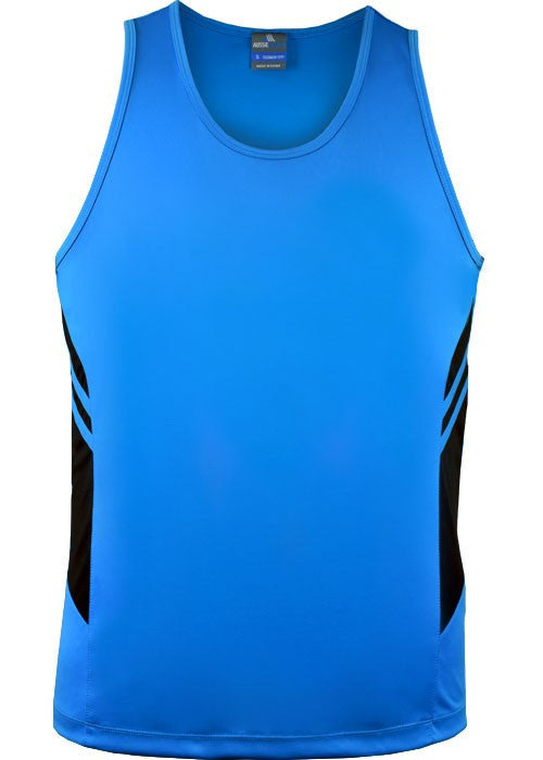 Aussie Pacific-Aussie Pacific Mens Tasman Singlet-Cyan/Black / S-Uniform Wholesalers - 4