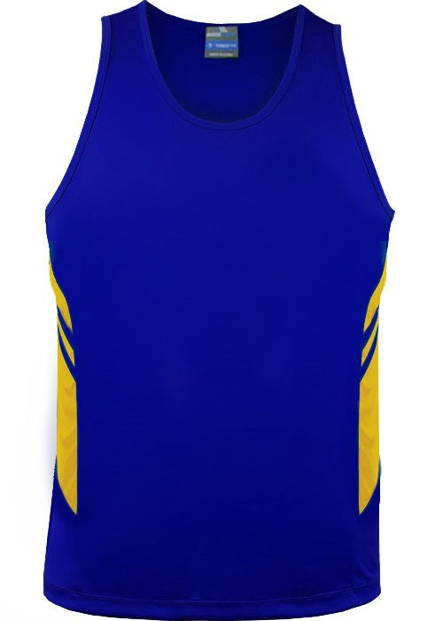 Aussie Pacific-Aussie Pacific Mens Tasman Singlet(3rd 8 color)-S / Royal/Gold-Uniform Wholesalers - 7