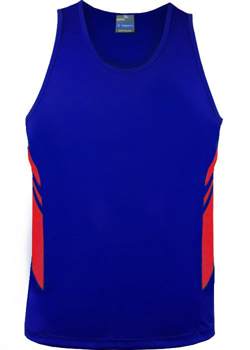 Aussie Pacific-Aussie Pacific Mens Tasman Singlet(3rd 8 color)-S / Royal/Red-Uniform Wholesalers - 8