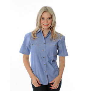 DNC Workwear-DNC Ladies Cotton S/S Chambray Shirt--Uniform Wholesalers - 1