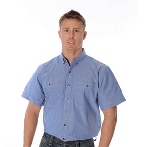 DNC Workwear-DNC Cotton Chambray S/S Shirt with Twin Pocket--Uniform Wholesalers - 2
