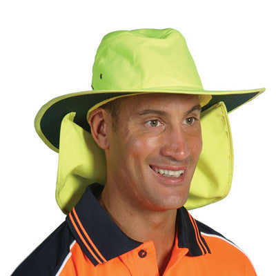 DNC Workwear-DNC HiVis Hat with Flap-S / Yellow-Uniform Wholesalers