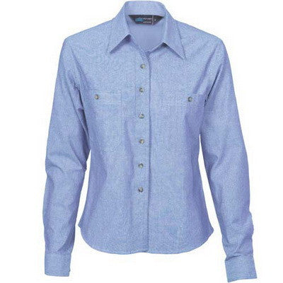 DNC Workwear-DNC Ladies Cotton Chambray Shirt - Long Sleeve-6 / Chambray-Uniform Wholesalers