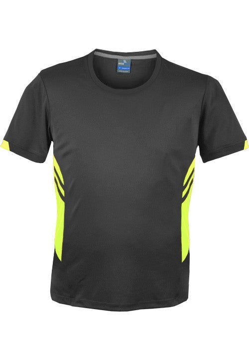 Aussie Pacific-Aussie Pacific Mens Tasman Tee(2nd 14 colors)-S / Slate/Neon Yellow-Uniform Wholesalers - 6
