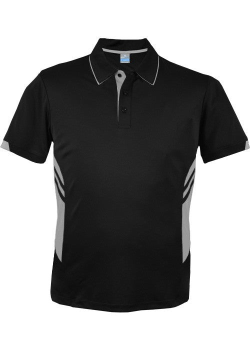 Aussie Pacific-Aussie Pacific Mens Tasman Polo (2nd 16 color)-S / Black/Ashe-Uniform Wholesalers - 22
