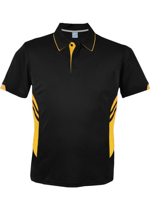 Aussie Pacific-Aussie Pacific Mens Tasman Polo (2nd 16 color)-S / Black/Gold-Uniform Wholesalers - 23