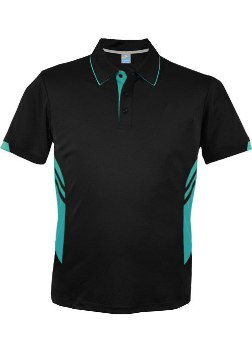 Aussie Pacific-Aussie Pacific Mens Tasman Polo (2nd 16 color)-S / Black/Teal-Uniform Wholesalers - 24