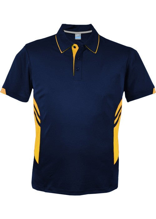 Aussie Pacific-Aussie Pacific Mens Tasman Polo (2nd 16 color)-S / Navy/Gold-Uniform Wholesalers - 25