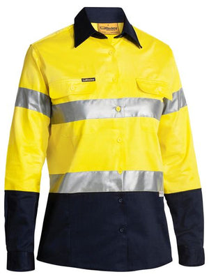 Bisley 2 Tone Ladies Hi Vis Drill Shirt 3m Reflective Tape - Long Sleeve (BLT6456)