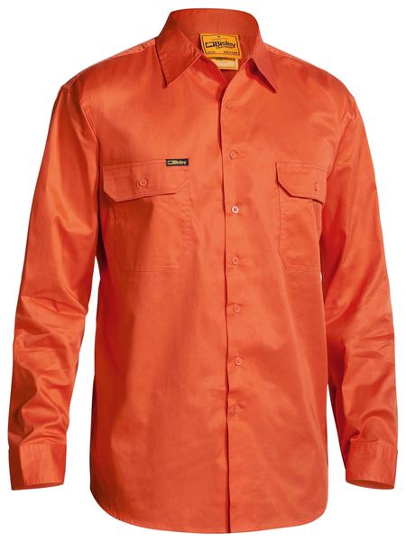 Bisley Hi Vis Cool Lightweight Drill Shirt - Long Sleeve (BS6894)
