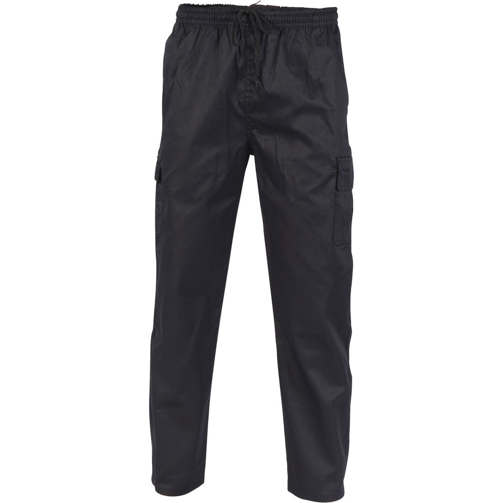 DNC Workwear-DNC Polyester Cotton Drawstring Cargo Chef Pants-S / Black-Uniform Wholesalers - 1