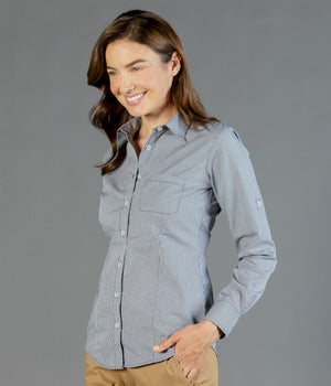 Gloweave Ladies Gingham Long Sleeve Casual Slim Fit Shirt (1637WHL)