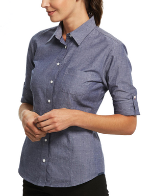 Gloweave-Gloweave Ladies Spot Dobby Denim L/S Shirt--Uniform Wholesalers - 1