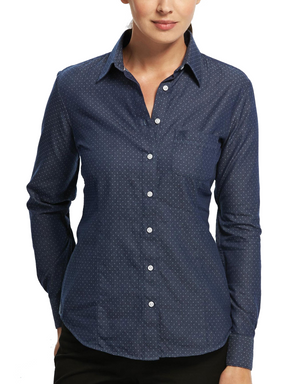 Gloweave-Gloweave Ladies Polka Dot Dobby L/S Shirt--Uniform Wholesalers - 1