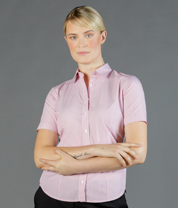 Gloweave Ladies Dobby Stripe Short Sleeve Shirt (1891WS)