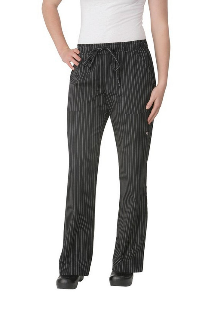 Chef Works-Chef Works Women's Black Pinstripe Chef Pants-XS / Black/Pinstripe-Uniform Wholesalers - 2