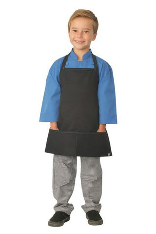 Chef Works-Chef Works Kids Piping Apron-47cm x 43cm / Black/Blue Piping-Uniform Wholesalers - 1