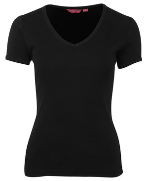 JB's Wear-JB's Ladies V-Neck Tee-Black / 8-Uniform Wholesalers - 2