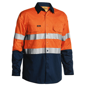 Bisley 2 Tone Hi Vis Cool Lightweight Gusset Cuff Shirt 3M Reflective Tape - Long Sleeve (BS6896)