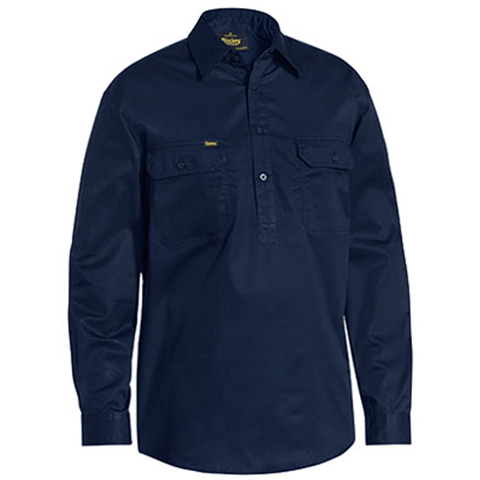 Bisley Closed Front Cotton Light Weight Drill Shirt - Long Sleeve (BSC6820)
