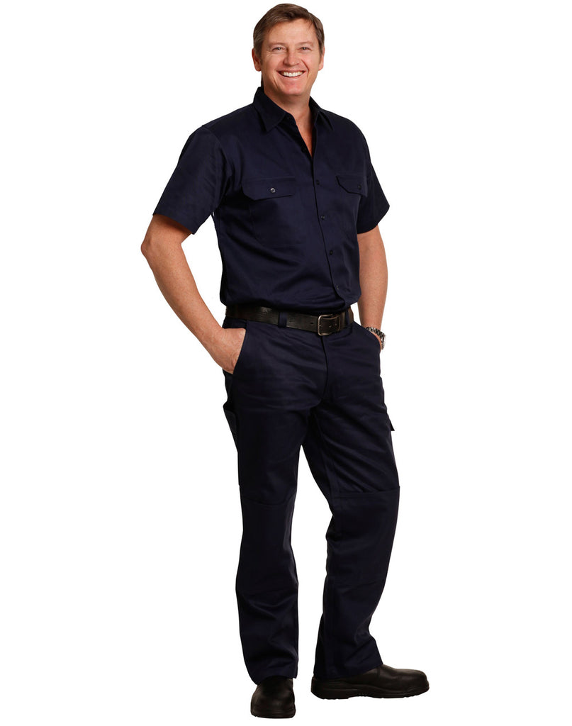 Winning Spirit Men's Cotton Drill Cargo Pants With Knee Pads (WP03)