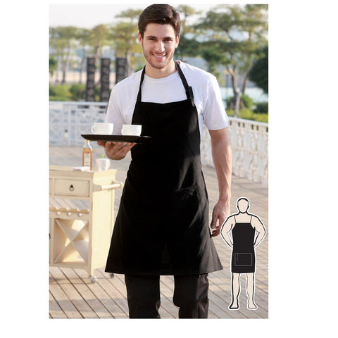 Bocini-Bocini Polyester Drill Full Bib Apron With Pocket--Uniform Wholesalers - 1