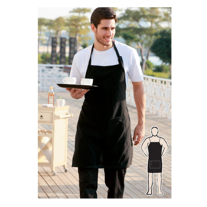 Bocini Cotton Drill Full BiB Apron With  Pocket-(WA0396)