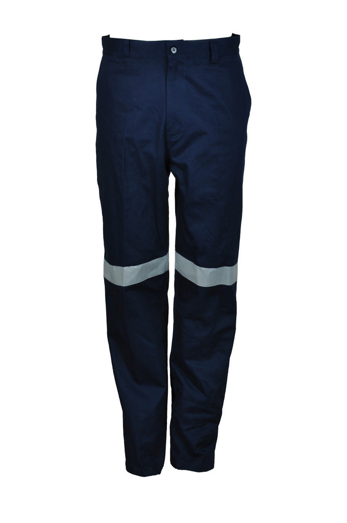 Bocini-Bocini Cotton Drill Work Pants with Reflective Tape-Navy / 82R-Uniform Wholesalers - 2