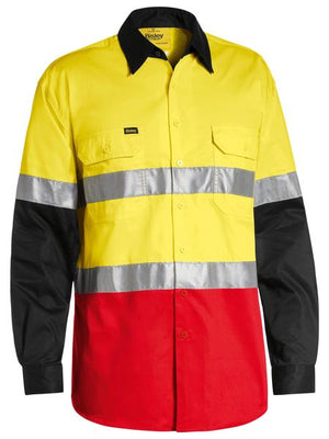 Bisley 3M Taped Hi Vis Cool Light Weight Three Tone Long Sleeve Shirt (BS6697T)