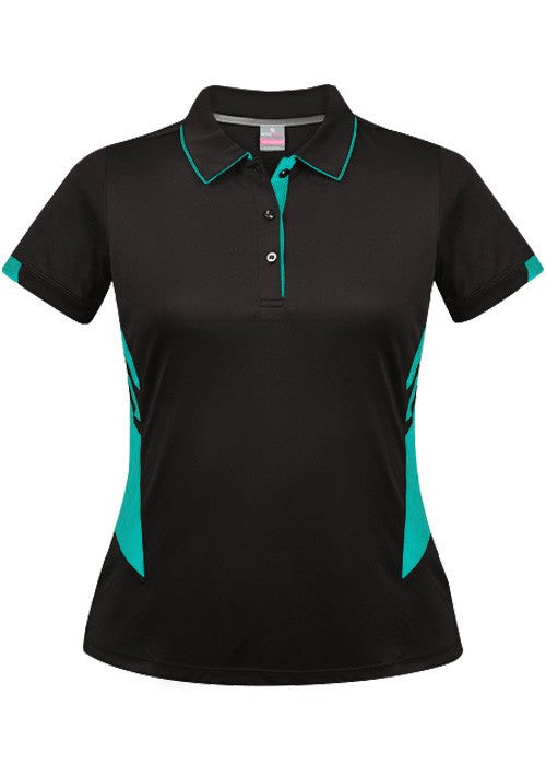 Aussie Pacific-Aussie Pacific Lady Tasman Polo( 3rd 8 colors)-4 / Black/Red-Uniform Wholesalers - 4