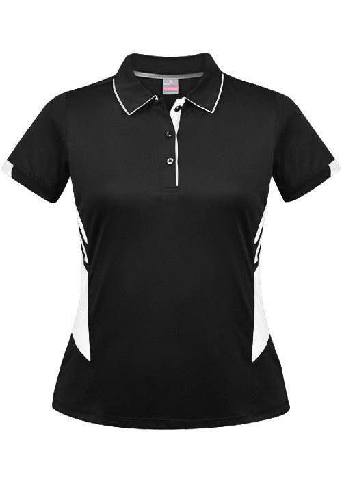 Aussie Pacific-Aussie Pacific Lady Tasman Polo( 3rd 8 colors)-4 / Black/White-Uniform Wholesalers - 5